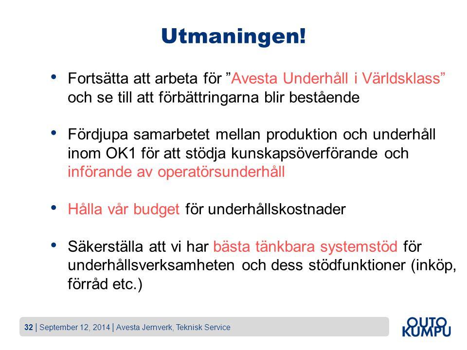 """32   September 12, 2014   Avesta Jernverk, Teknisk Service Utmaningen! Fortsätta att arbeta för """"Avesta Underhåll i Världsklass"""" och se till att förbä"""