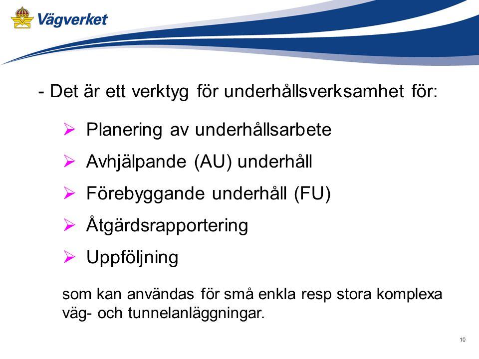 10 - Det är ett verktyg för underhållsverksamhet för:  Planering av underhållsarbete  Avhjälpande (AU) underhåll  Förebyggande underhåll (FU)  Åtgärdsrapportering  Uppföljning som kan användas för små enkla resp stora komplexa väg- och tunnelanläggningar.