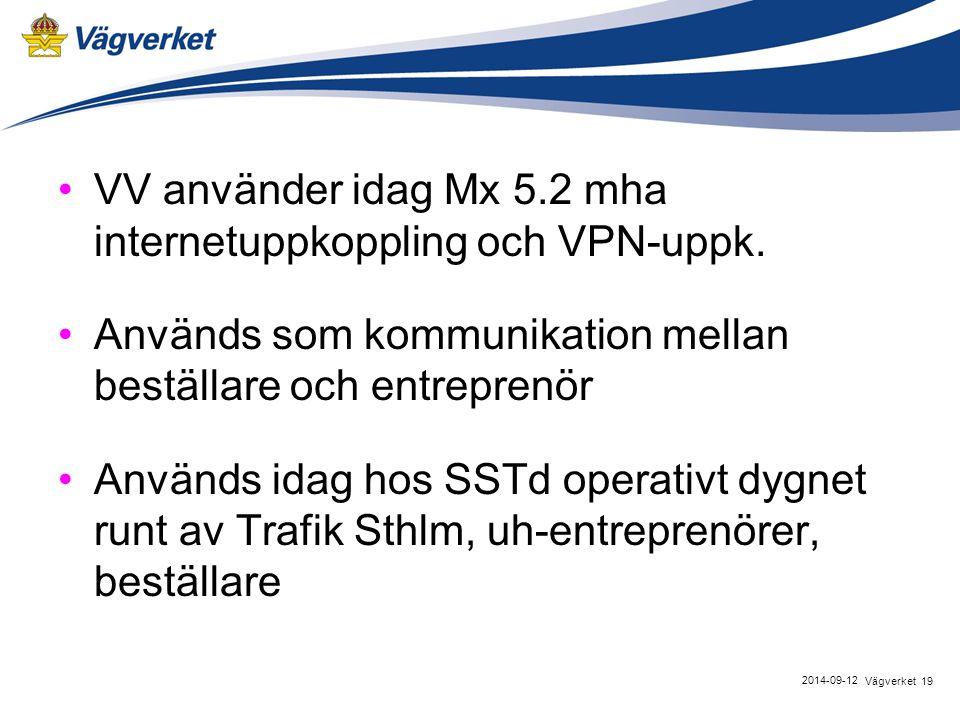 VV använder idag Mx 5.2 mha internetuppkoppling och VPN-uppk.