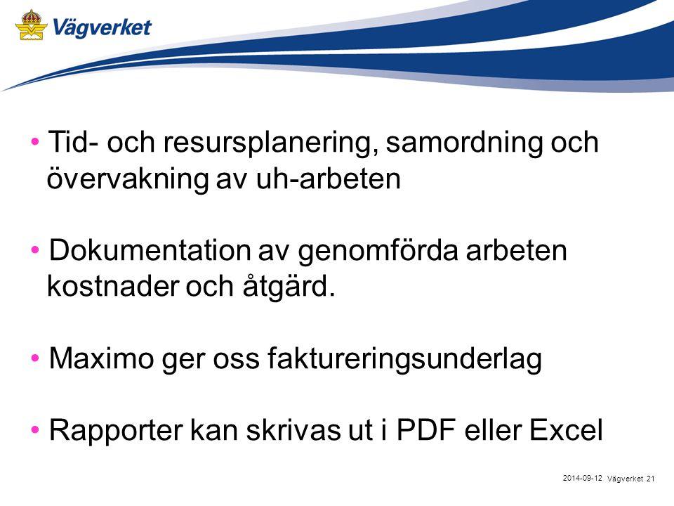 21Vägverket 2014-09-12 Tid- och resursplanering, samordning och övervakning av uh-arbeten Dokumentation av genomförda arbeten kostnader och åtgärd.
