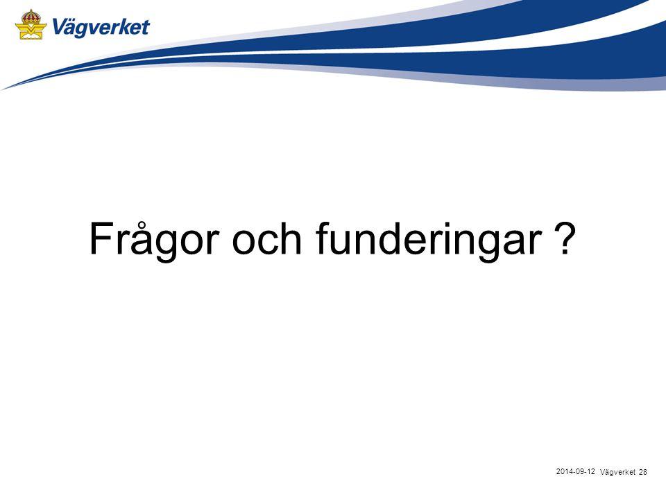 Frågor och funderingar ? 28Vägverket 2014-09-12