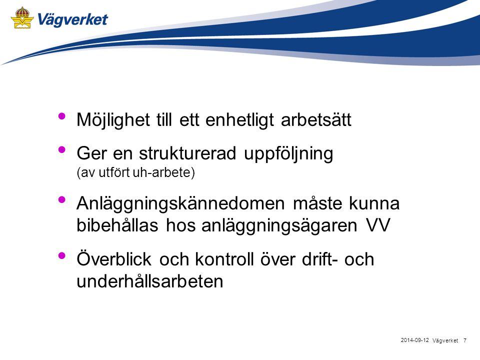 Möjlighet till ett enhetligt arbetsätt Ger en strukturerad uppföljning (av utfört uh-arbete) Anläggningskännedomen måste kunna bibehållas hos anläggningsägaren VV Överblick och kontroll över drift- och underhållsarbeten 7Vägverket 2014-09-12