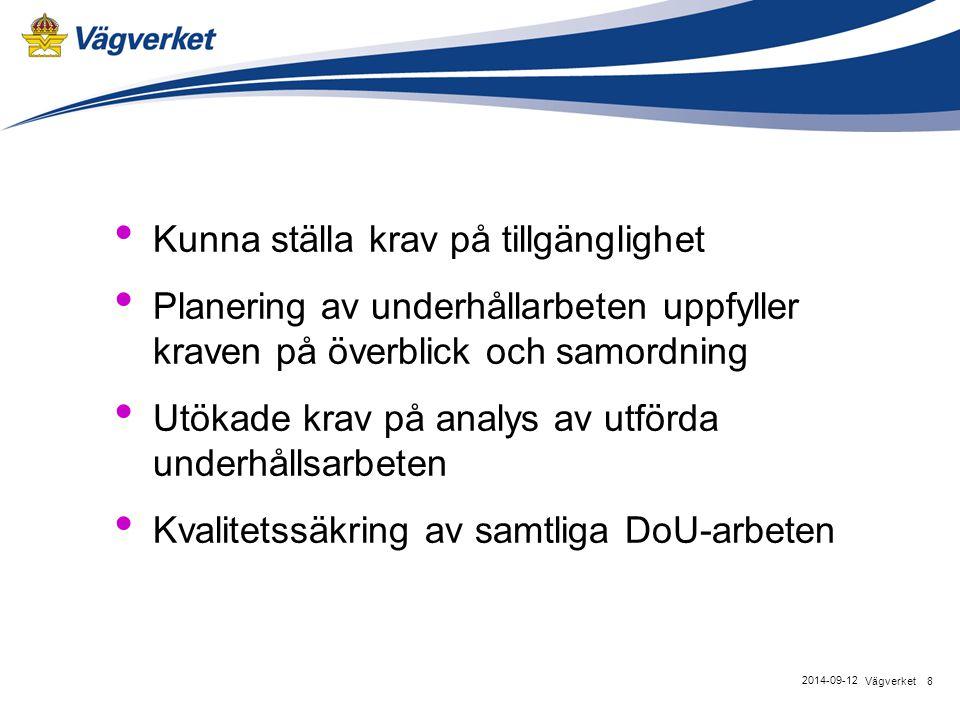 Kunna ställa krav på tillgänglighet Planering av underhållarbeten uppfyller kraven på överblick och samordning Utökade krav på analys av utförda underhållsarbeten Kvalitetssäkring av samtliga DoU-arbeten 8Vägverket 2014-09-12