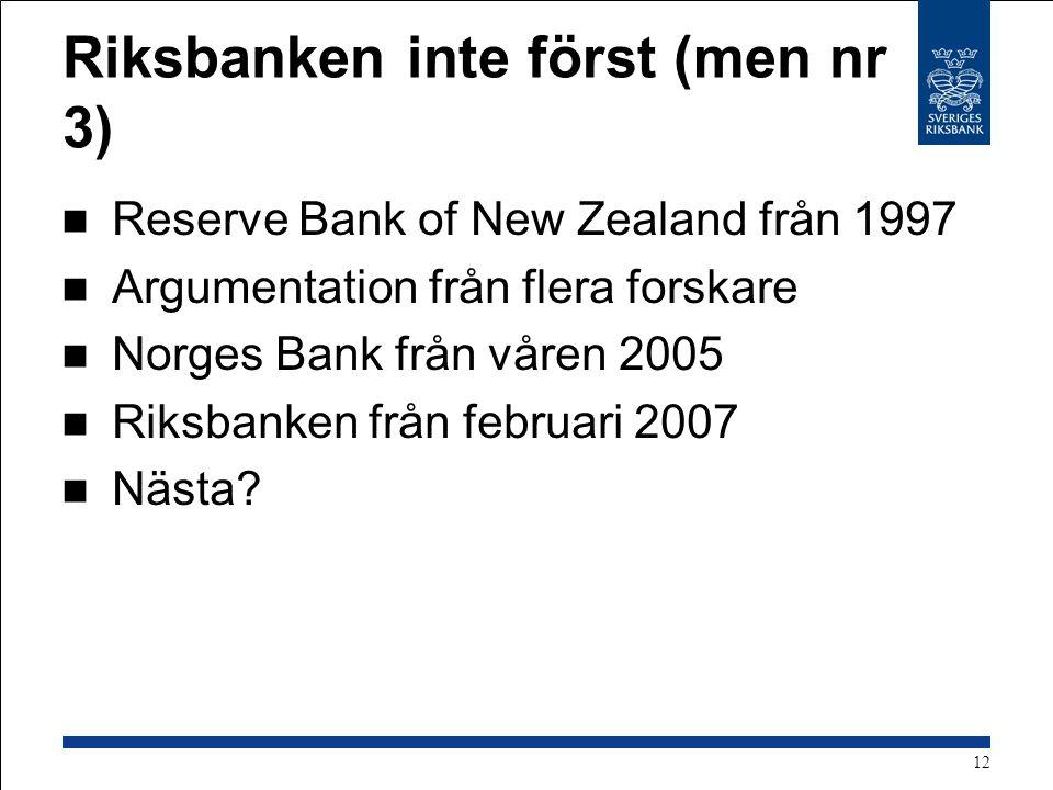 Riksbanken inte först (men nr 3) Reserve Bank of New Zealand från 1997 Argumentation från flera forskare Norges Bank från våren 2005 Riksbanken från februari 2007 Nästa.