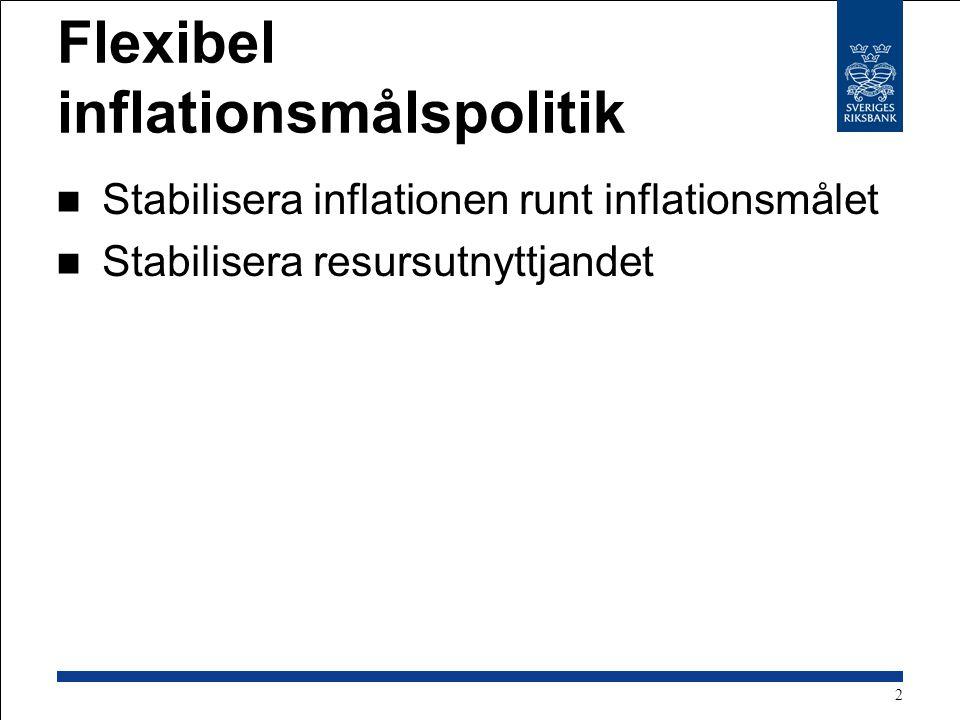 Flexibel inflationsmålspolitik Stabilisera inflationen runt inflationsmålet Stabilisera resursutnyttjandet 2