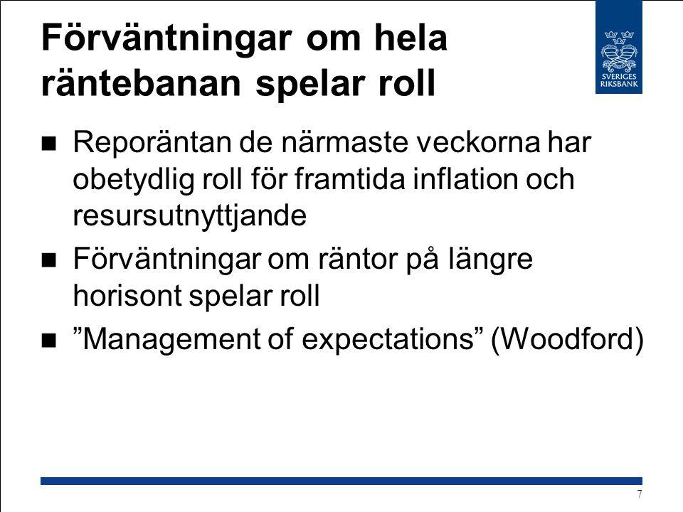 Flexibel inflationsmålspolitik Välj räntebana så resulterande prognos för inflationen och resursutnyttjandet ser bra ut Ser bra ut : Inflationen ca 2% och resursutnyttjandet normalt på 2-3 års sikt, eller inflationen närmar sig målet och resursutnyttjandet närmar sig normalt i rimlig takt Väl avvägd penningpolitik Forecast targeting (Prognosstyrning?) 8