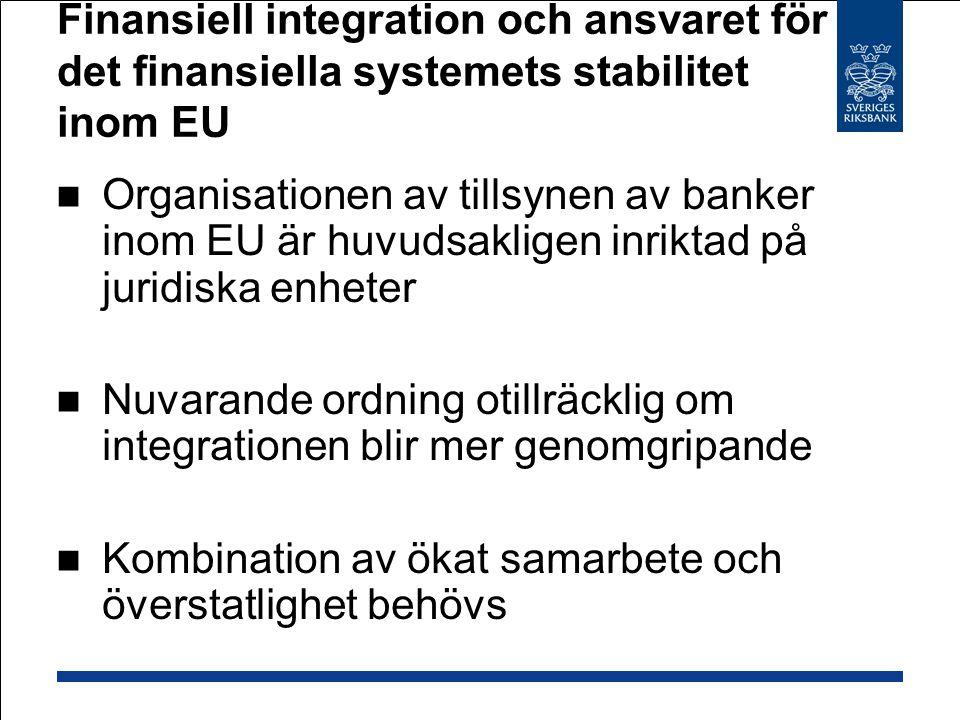 Finansiell integration och ansvaret för det finansiella systemets stabilitet inom EU Organisationen av tillsynen av banker inom EU är huvudsakligen in