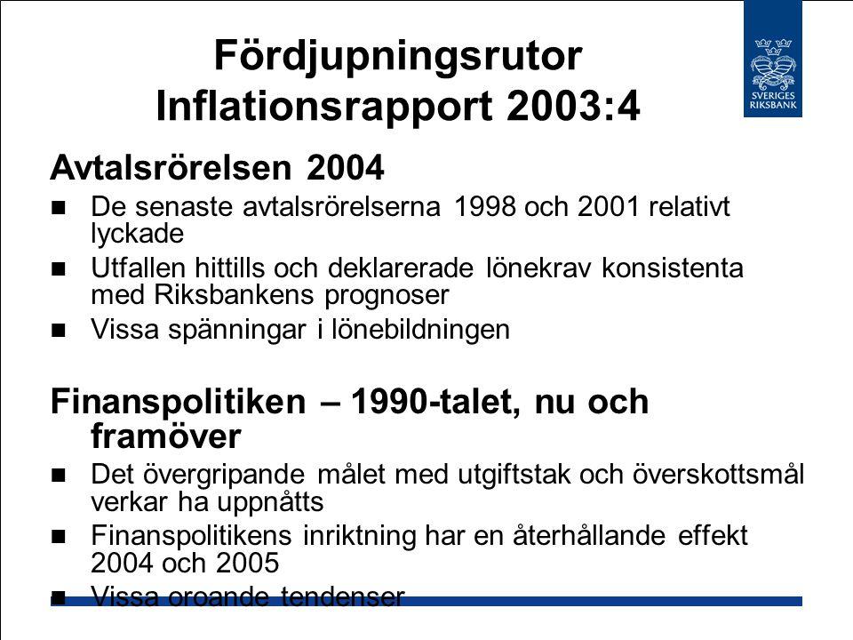 Fördjupningsrutor Inflationsrapport 2003:4 Avtalsrörelsen 2004 De senaste avtalsrörelserna 1998 och 2001 relativt lyckade Utfallen hittills och deklarerade lönekrav konsistenta med Riksbankens prognoser Vissa spänningar i lönebildningen Finanspolitiken – 1990-talet, nu och framöver Det övergripande målet med utgiftstak och överskottsmål verkar ha uppnåtts Finanspolitikens inriktning har en återhållande effekt 2004 och 2005 Vissa oroande tendenser