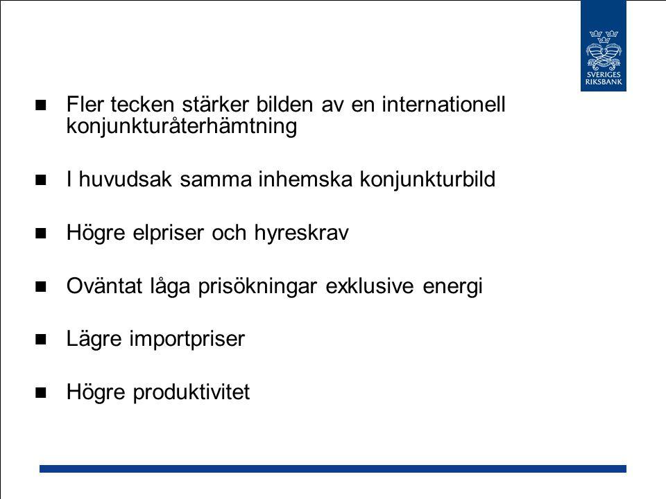 Fler tecken stärker bilden av en internationell konjunkturåterhämtning I huvudsak samma inhemska konjunkturbild Högre elpriser och hyreskrav Oväntat låga prisökningar exklusive energi Lägre importpriser Högre produktivitet
