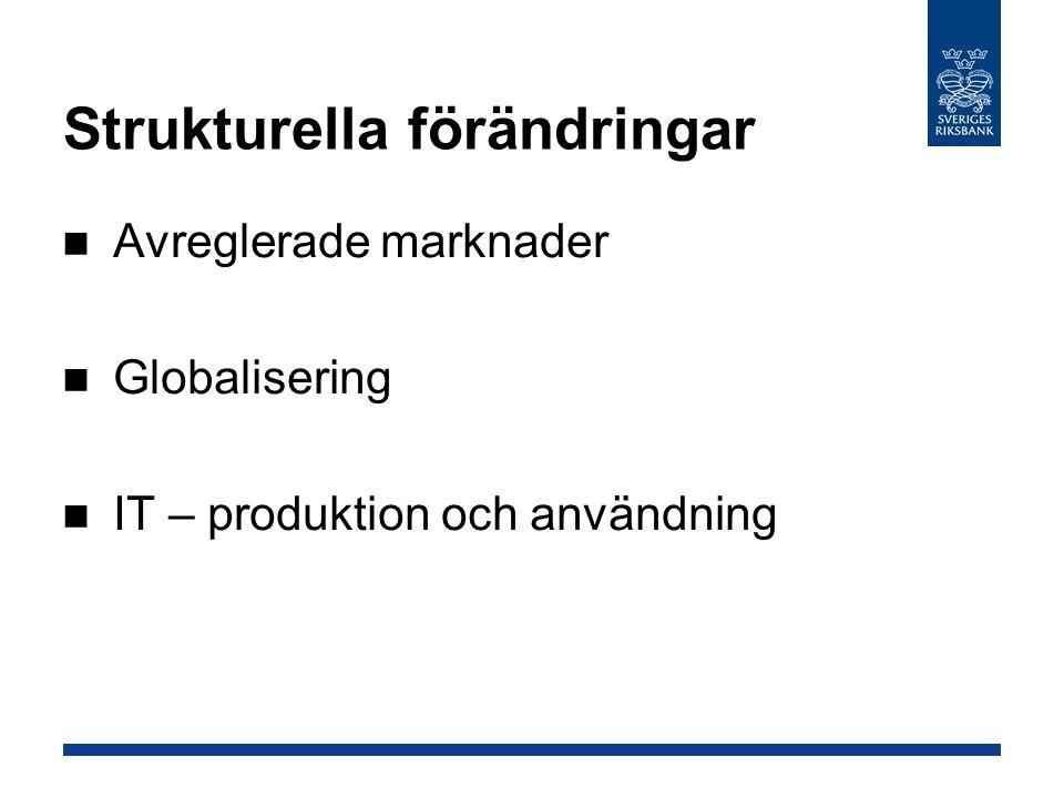Strukturella förändringar Avreglerade marknader Globalisering IT – produktion och användning