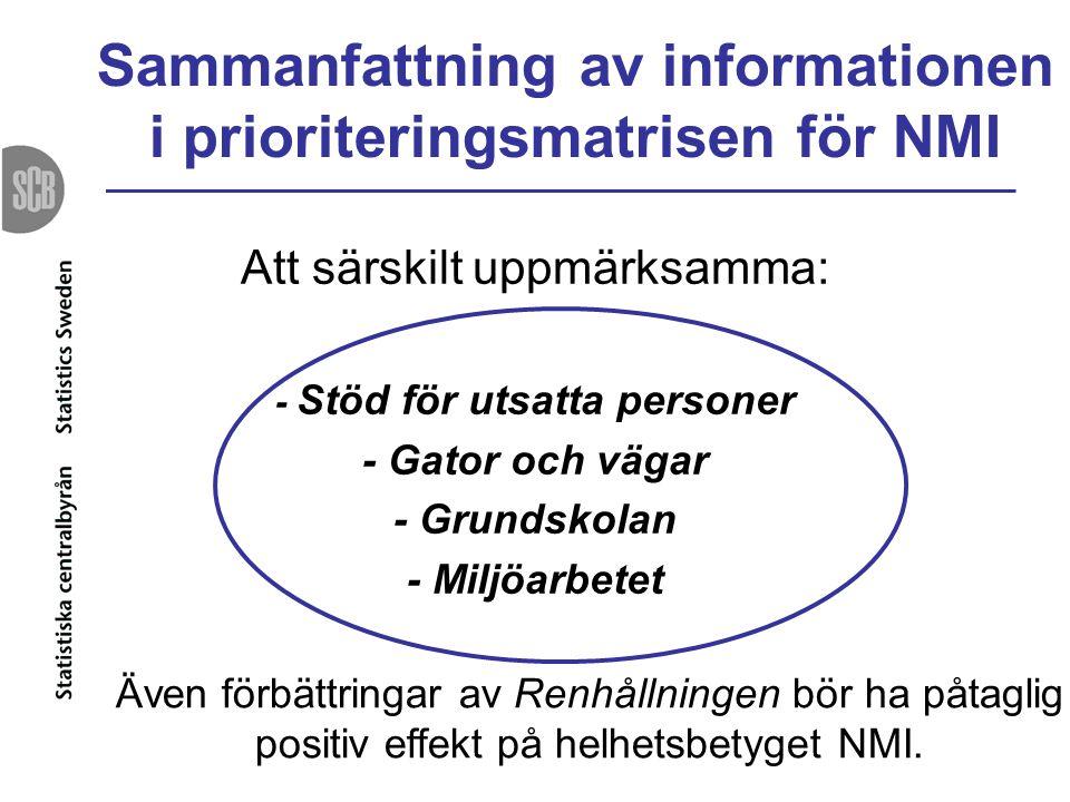 Sammanfattning av informationen i prioriteringsmatrisen för NMI Att särskilt uppmärksamma: - Stöd för utsatta personer - Gator och vägar - Grundskolan
