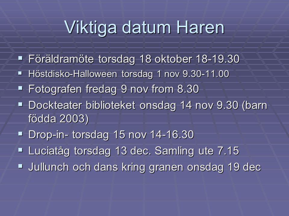 Viktiga datum Haren  Föräldramöte torsdag 18 oktober 18-19.30  Höstdisko-Halloween torsdag 1 nov 9.30-11.00  Fotografen fredag 9 nov from 8.30  Do