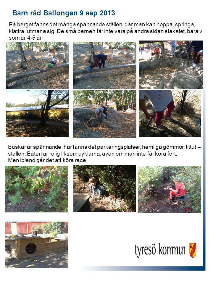 Barn råd Ballongen 9 sep 2013 Buskar är spännande, här fanns det parkeringsplatser, hemliga gömmor, tittut – ställen.