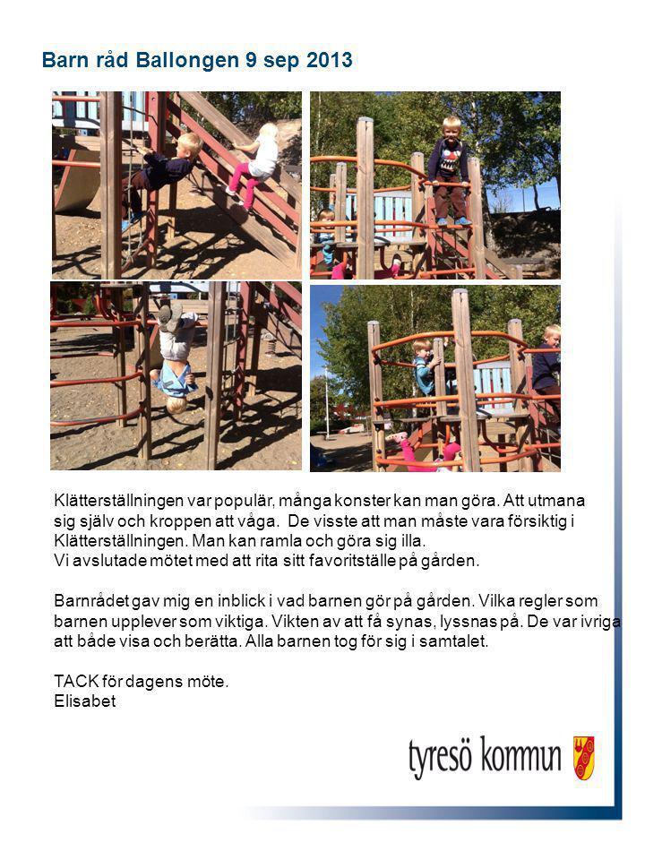 Barn råd Ballongen 9 sep 2013 Klätterställningen var populär, många konster kan man göra.
