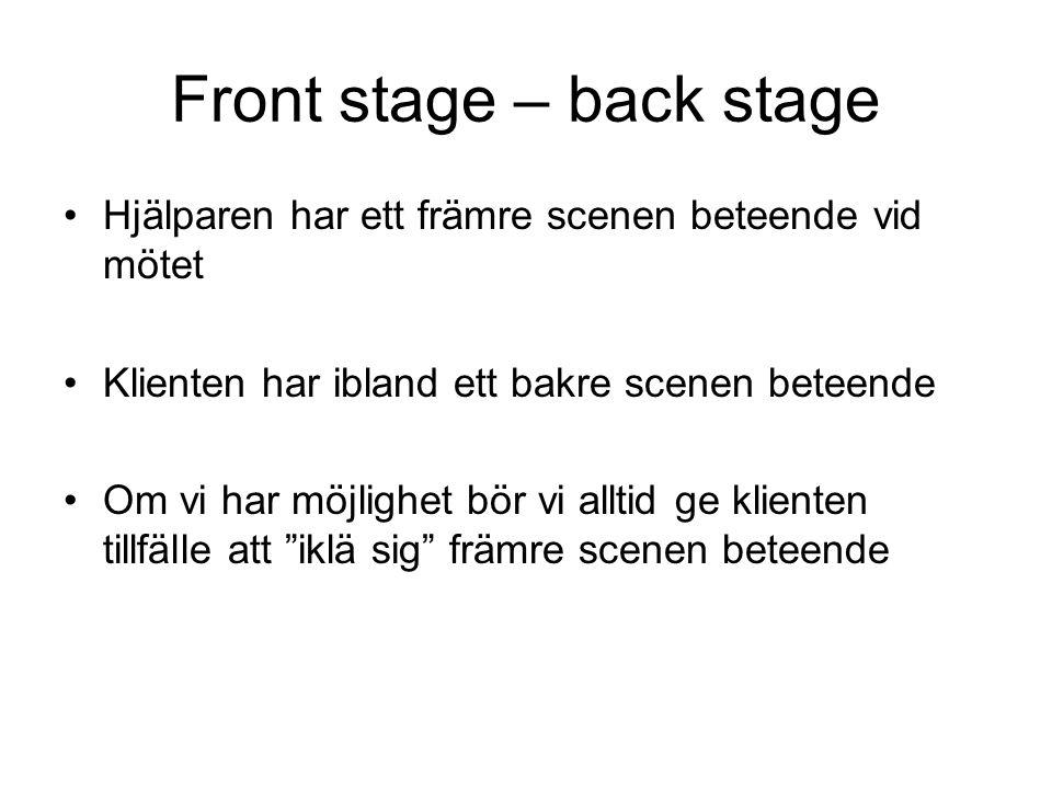 Front stage – back stage Hjälparen har ett främre scenen beteende vid mötet Klienten har ibland ett bakre scenen beteende Om vi har möjlighet bör vi a
