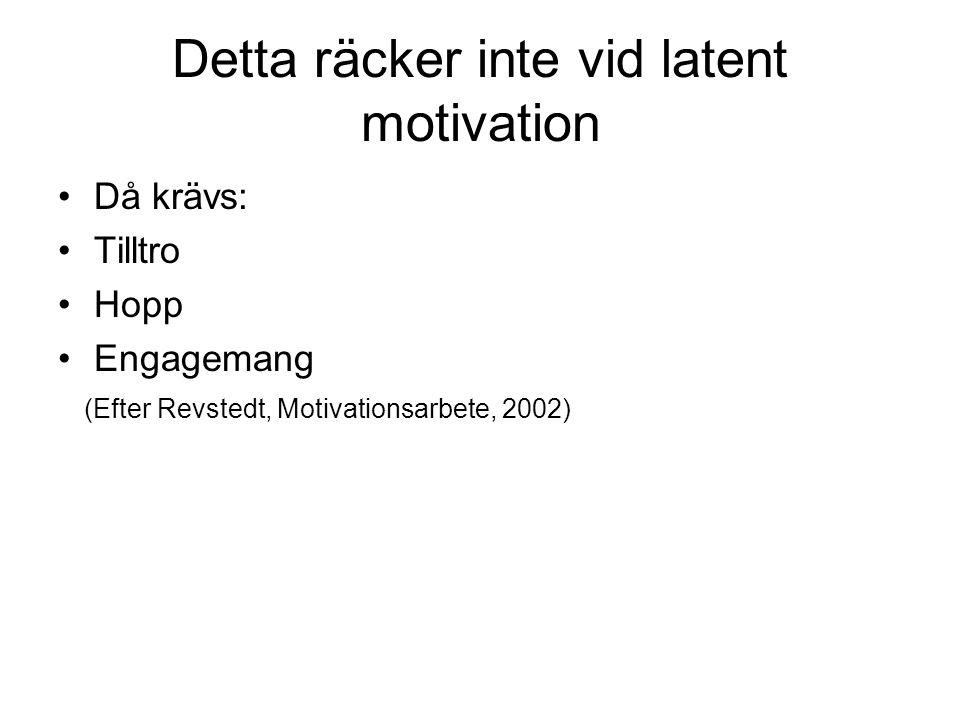 Detta räcker inte vid latent motivation Då krävs: Tilltro Hopp Engagemang (Efter Revstedt, Motivationsarbete, 2002)