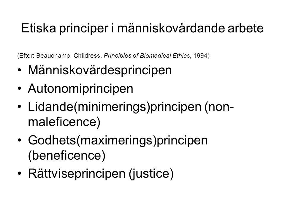 Etiska principer i människovårdande arbete (Efter: Beauchamp, Childress, Principles of Biomedical Ethics, 1994) Människovärdesprincipen Autonomiprinci