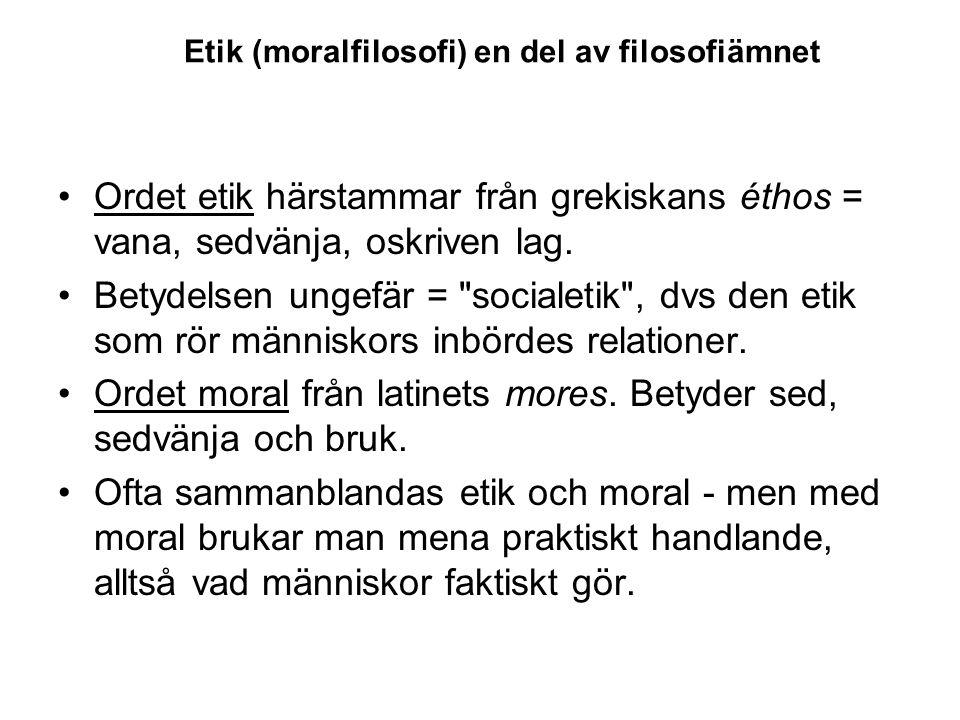 Etik (moralfilosofi) en del av filosofiämnet Ordet etik härstammar från grekiskans éthos = vana, sedvänja, oskriven lag. Betydelsen ungefär =
