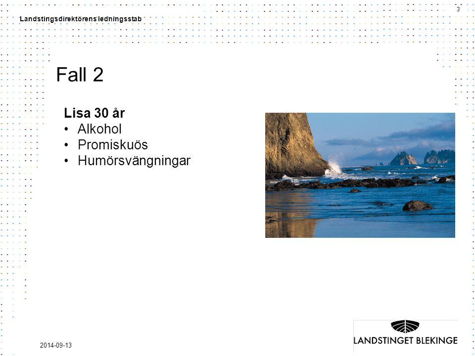 3 Landstingsdirektörens ledningsstab 2014-09-13 Fall 2 Lisa 30 år Alkohol Promiskuös Humörsvängningar