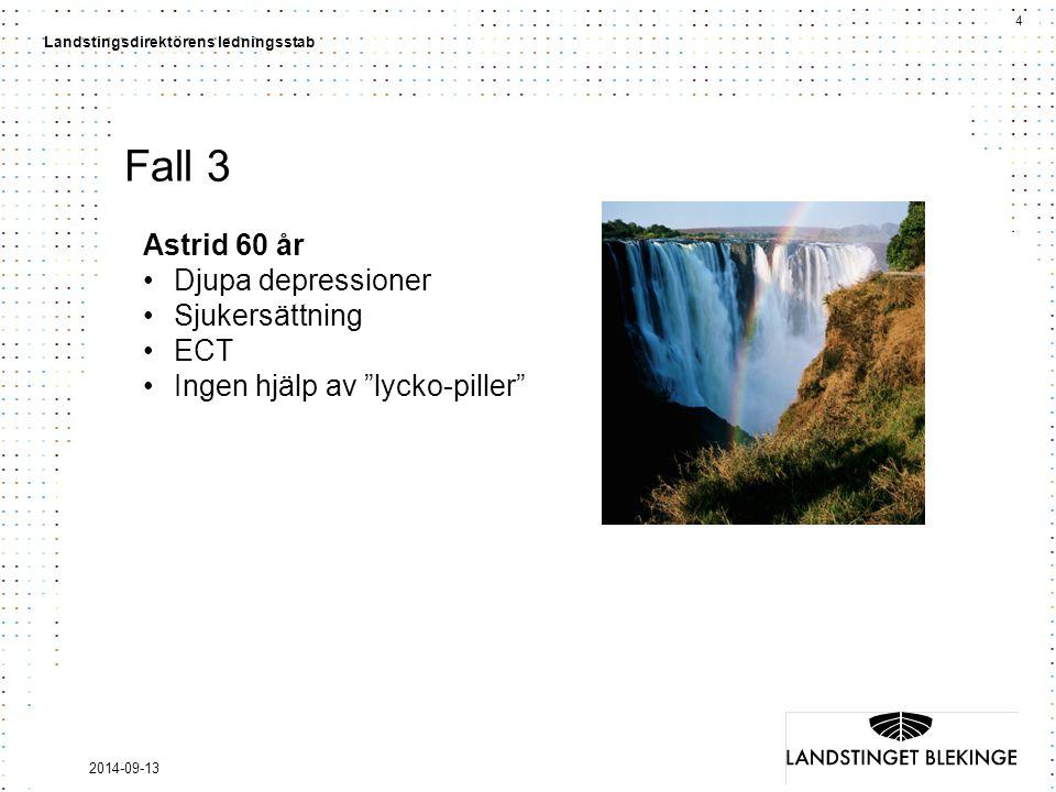 4 Landstingsdirektörens ledningsstab 2014-09-13 Fall 3 Astrid 60 år Djupa depressioner Sjukersättning ECT Ingen hjälp av lycko-piller