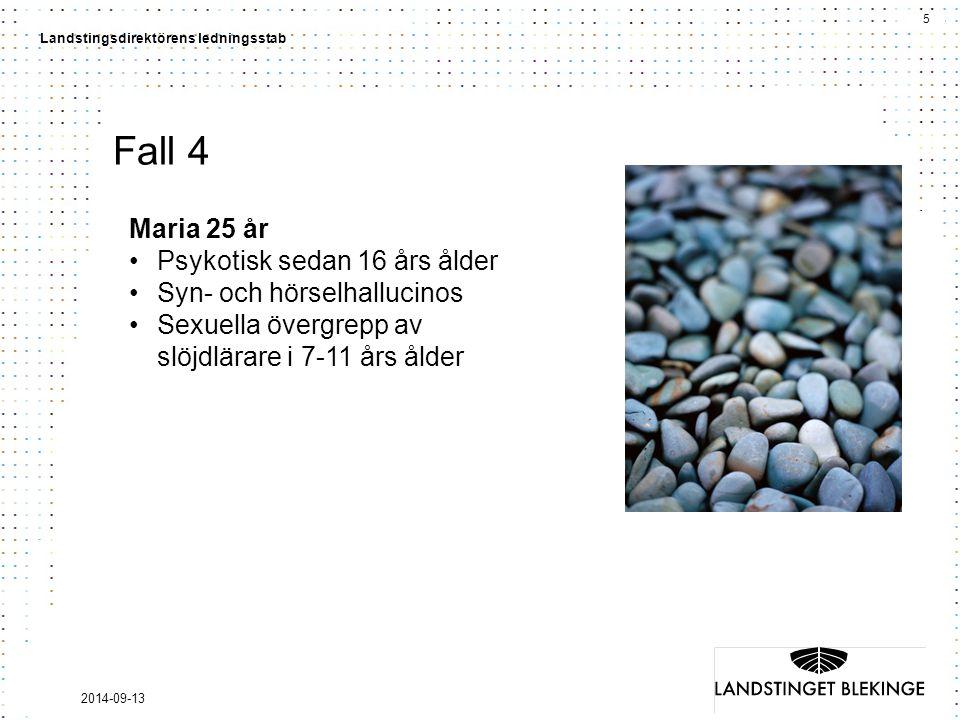 5 Landstingsdirektörens ledningsstab 2014-09-13 Fall 4 Maria 25 år Psykotisk sedan 16 års ålder Syn- och hörselhallucinos Sexuella övergrepp av slöjdlärare i 7-11 års ålder