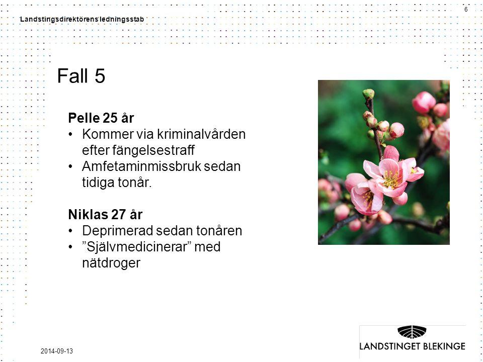 6 Landstingsdirektörens ledningsstab 2014-09-13 Fall 5 Pelle 25 år Kommer via kriminalvården efter fängelsestraff Amfetaminmissbruk sedan tidiga tonår.