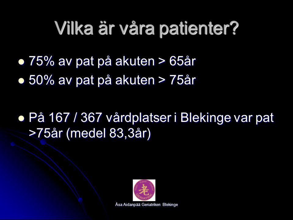 Åsa Aidanpää Geriatriken Blekinge Vilka är våra patienter? 75% av pat på akuten > 65år 75% av pat på akuten > 65år 50% av pat på akuten > 75år 50% av