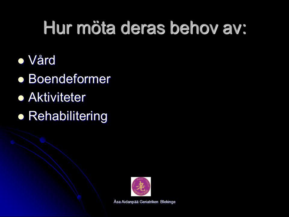 Åsa Aidanpää Geriatriken Blekinge Hur möta deras behov av: Vård Vård Boendeformer Boendeformer Aktiviteter Aktiviteter Rehabilitering Rehabilitering