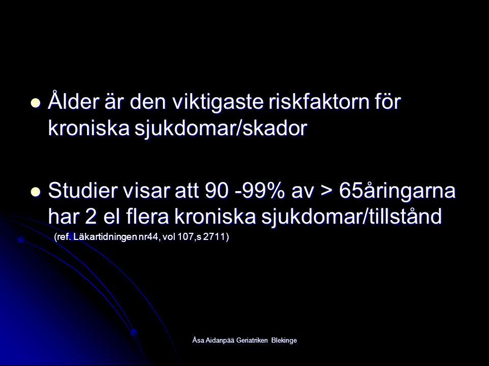 Åsa Aidanpää Geriatriken Blekinge Ålder är den viktigaste riskfaktorn för kroniska sjukdomar/skador Ålder är den viktigaste riskfaktorn för kroniska s