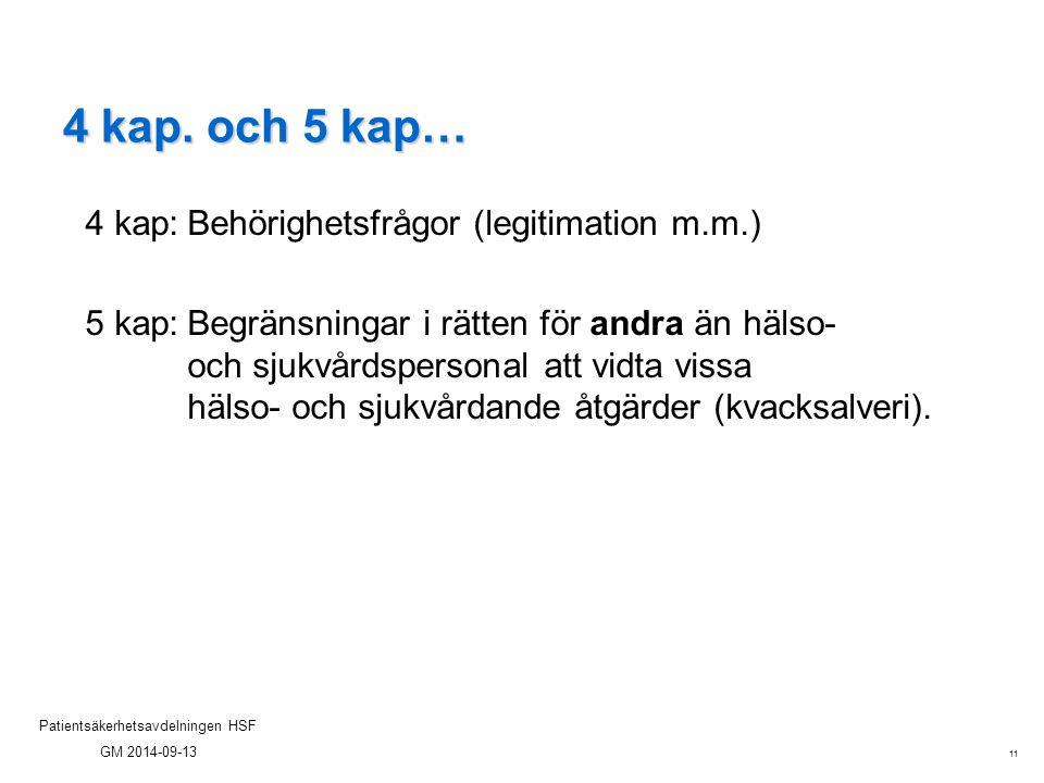 11 Patientsäkerhetsavdelningen HSF GM 2014-09-13 4 kap. och 5 kap… 4 kap:Behörighetsfrågor (legitimation m.m.) 5 kap:Begränsningar i rätten för andra