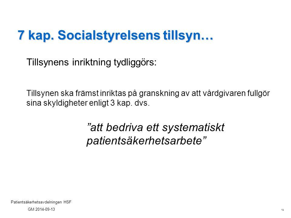 14 Patientsäkerhetsavdelningen HSF GM 2014-09-13 7 kap. Socialstyrelsens tillsyn… Tillsynens inriktning tydliggörs: Tillsynen ska främst inriktas på g