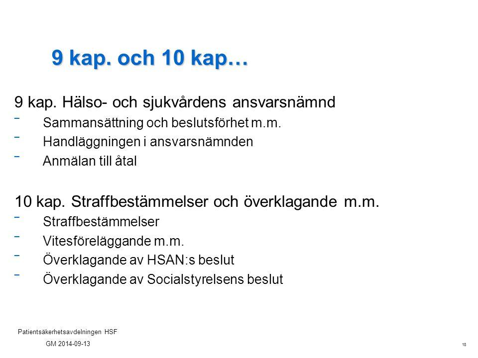 18 Patientsäkerhetsavdelningen HSF GM 2014-09-13 9 kap. och 10 kap… 9 kap. Hälso- och sjukvårdens ansvarsnämnd ‾ Sammansättning och beslutsförhet m.m.