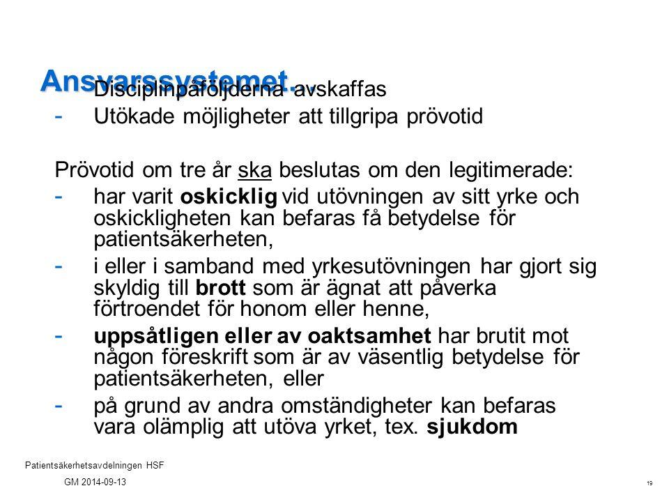 19 Patientsäkerhetsavdelningen HSF GM 2014-09-13 Ansvarssystemet… - Disciplinpåföljderna avskaffas - Utökade möjligheter att tillgripa prövotid Prövot