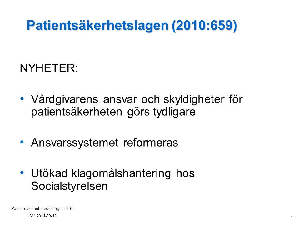 20 Patientsäkerhetsavdelningen HSF GM 2014-09-13 Patientsäkerhetslagen (2010:659) NYHETER: Vårdgivarens ansvar och skyldigheter för patientsäkerheten