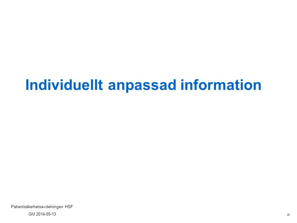 28 Patientsäkerhetsavdelningen HSF GM 2014-09-13 Individuellt anpassad information