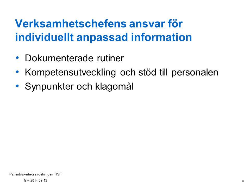 30 Patientsäkerhetsavdelningen HSF GM 2014-09-13 Verksamhetschefens ansvar för individuellt anpassad information Dokumenterade rutiner Kompetensutveck
