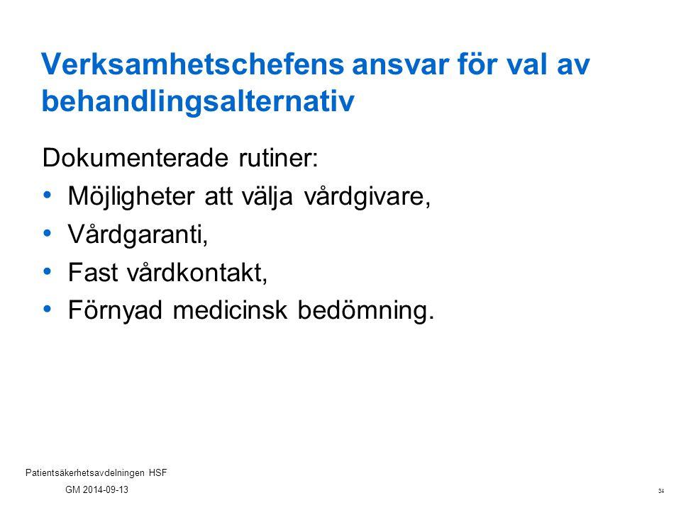 34 Patientsäkerhetsavdelningen HSF GM 2014-09-13 Verksamhetschefens ansvar för val av behandlingsalternativ Dokumenterade rutiner: Möjligheter att väl
