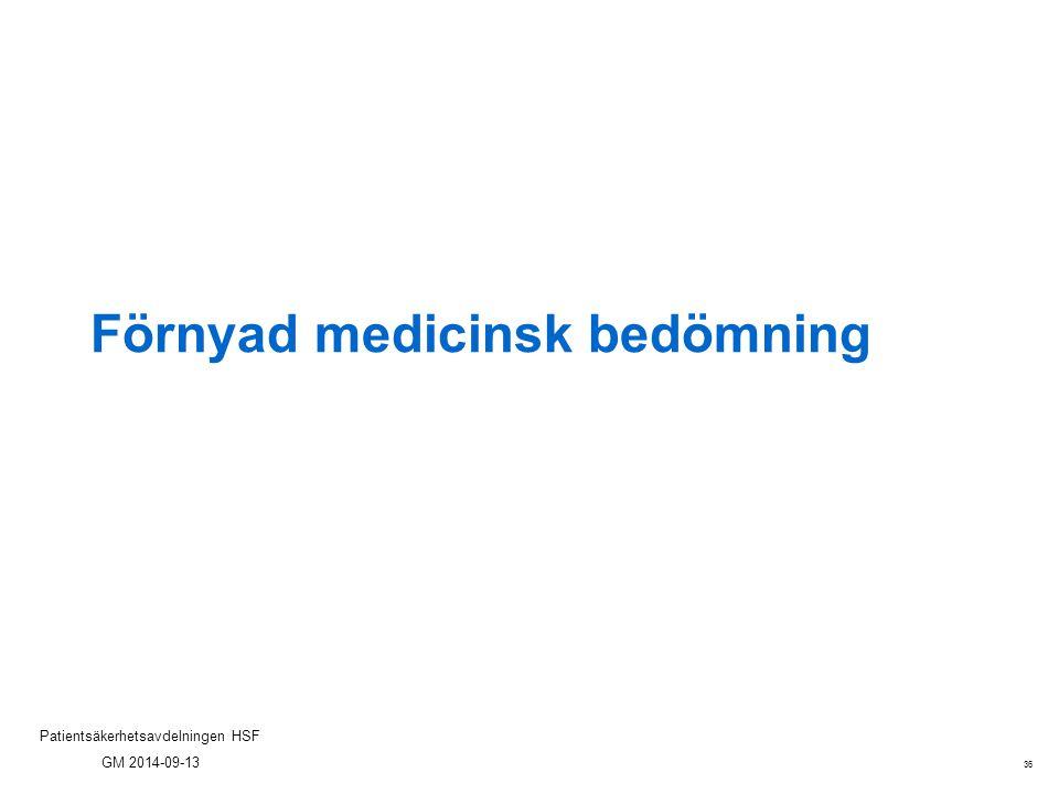 36 Patientsäkerhetsavdelningen HSF GM 2014-09-13 Förnyad medicinsk bedömning