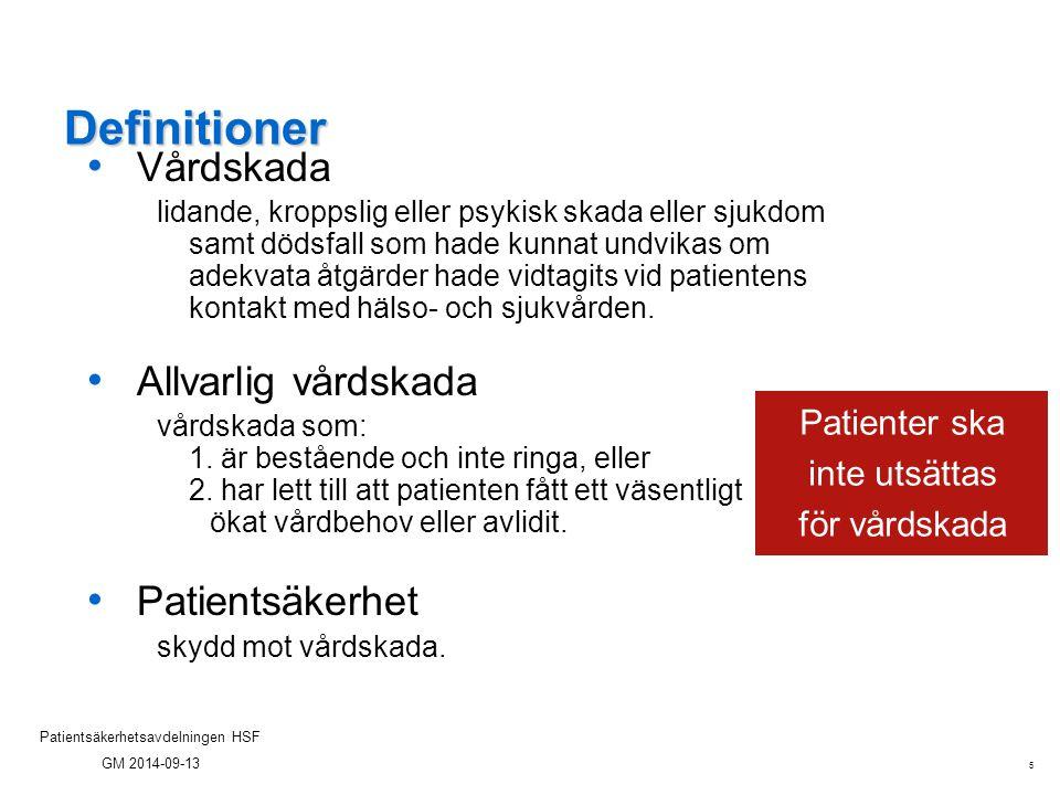 5 Patientsäkerhetsavdelningen HSF GM 2014-09-13 Definitioner Vårdskada lidande, kroppslig eller psykisk skada eller sjukdom samt dödsfall som hade kun