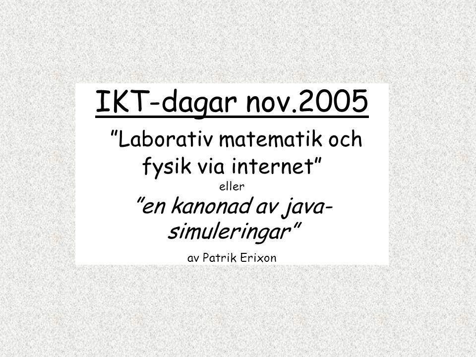 IKT-dagar nov.2005 Laborativ matematik och fysik via internet eller en kanonad av java- simuleringar av Patrik Erixon