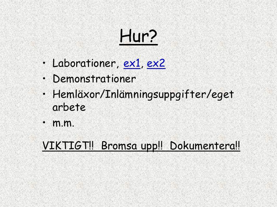 Hur? Laborationer, ex1, ex2ex1ex2 Demonstrationer Hemläxor/Inlämningsuppgifter/eget arbete m.m. VIKTIGT!! Bromsa upp!! Dokumentera!!