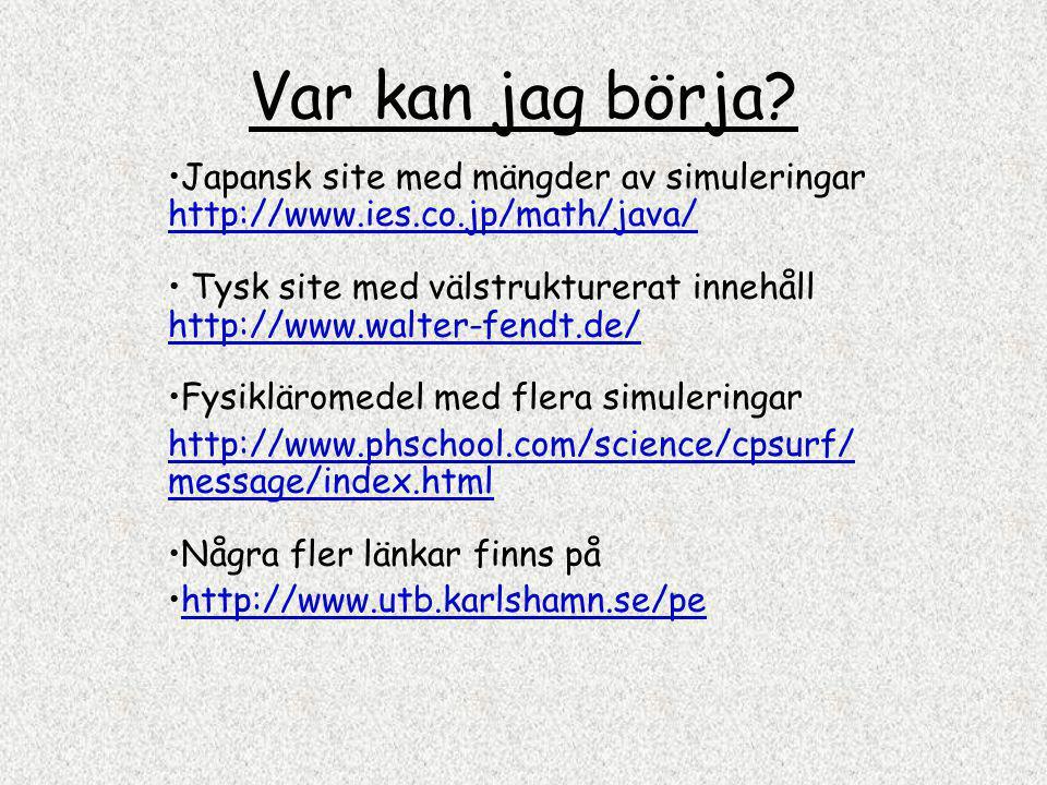 Var kan jag börja? Japansk site med mängder av simuleringar http://www.ies.co.jp/math/java/ http://www.ies.co.jp/math/java/ Tysk site med välstrukture