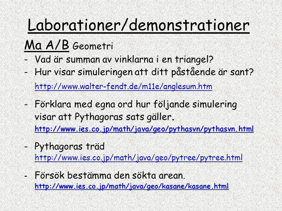 Laborationer/demonstrationer Ma A/B Geometri - Vad är summan av vinklarna i en triangel.