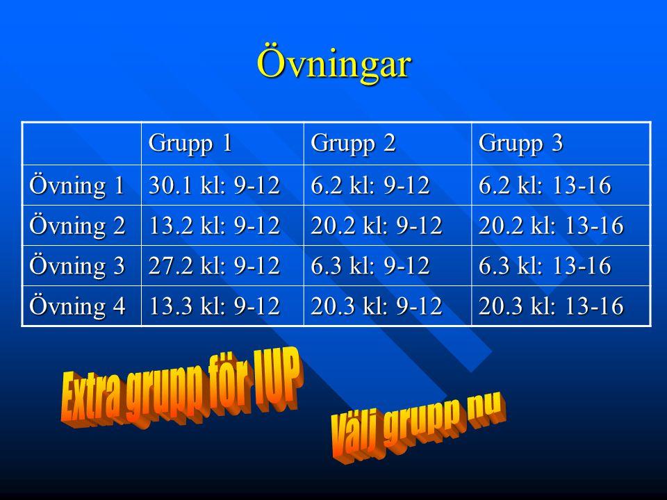Övningar Grupp 1 Grupp 2 Grupp 3 Övning 1 30.1 kl: 9-12 6.2 kl: 9-12 6.2 kl: 13-16 Övning 2 13.2 kl: 9-12 20.2 kl: 9-12 20.2 kl: 13-16 Övning 3 27.2 k