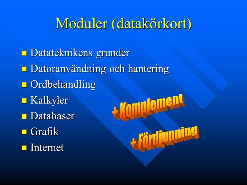 Moduler (datakörkort) Datateknikens grunder Datateknikens grunder Datoranvändning och hantering Datoranvändning och hantering Ordbehandling Ordbehandl