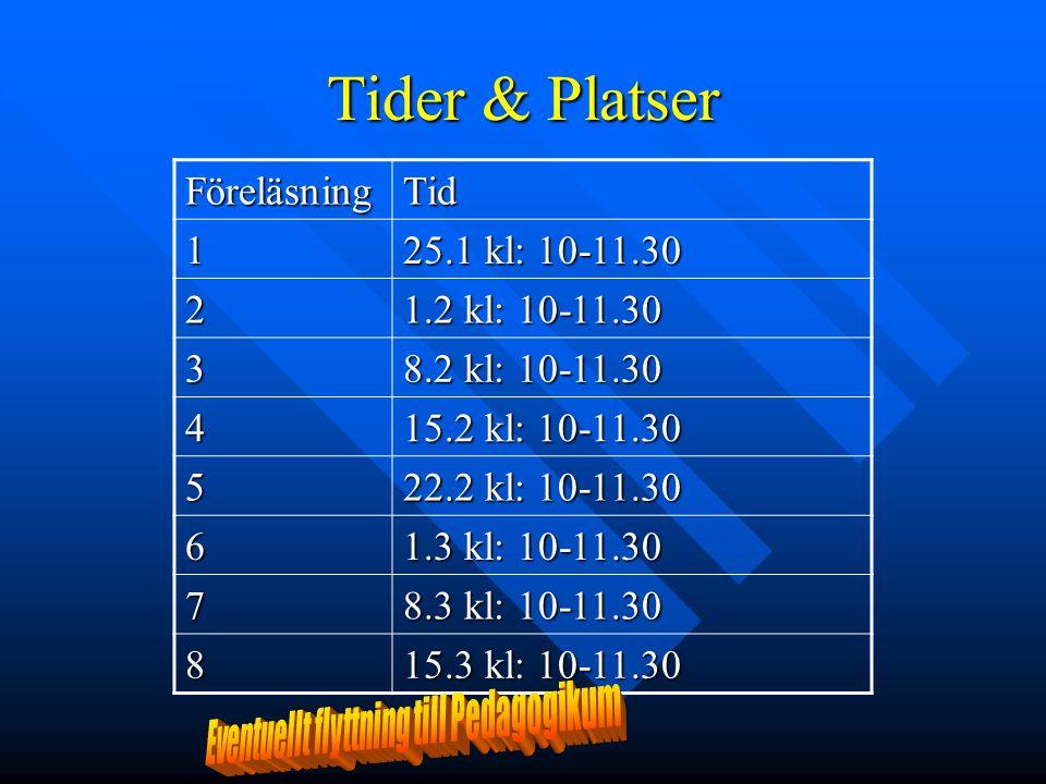 Tider & Platser FöreläsningTid1 25.1 kl: 10-11.30 2 1.2 kl: 10-11.30 3 8.2 kl: 10-11.30 4 15.2 kl: 10-11.30 5 22.2 kl: 10-11.30 6 1.3 kl: 10-11.30 7 8
