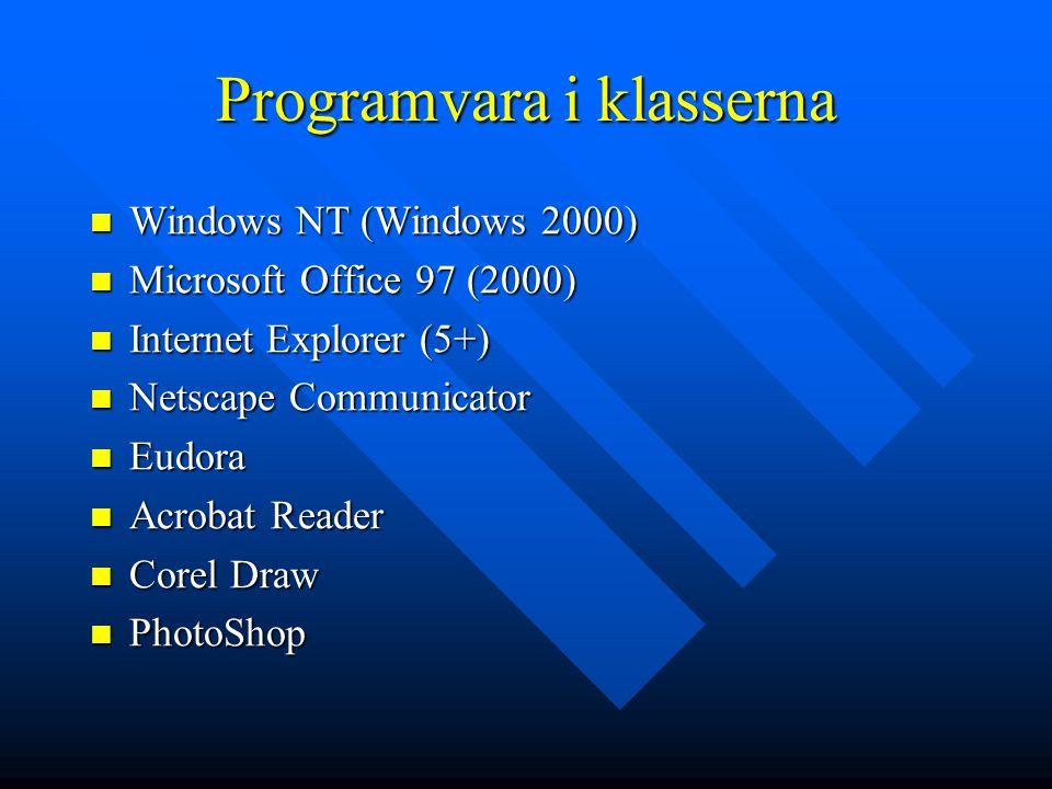 Programvara i klasserna Windows NT (Windows 2000) Windows NT (Windows 2000) Microsoft Office 97 (2000) Microsoft Office 97 (2000) Internet Explorer (5