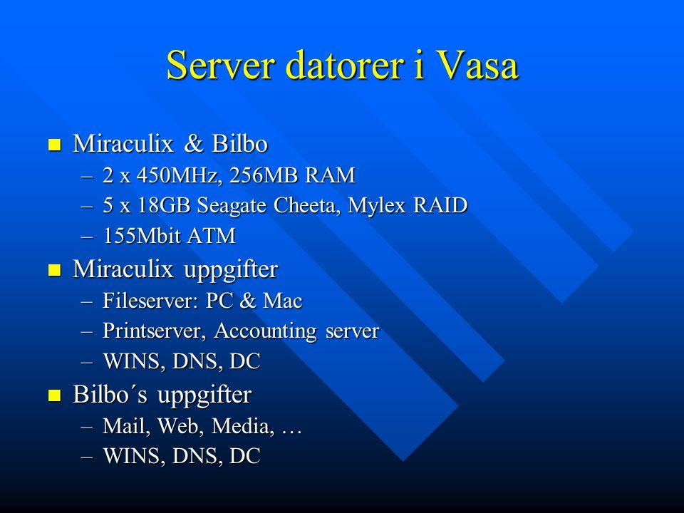 Server datorer i Vasa Miraculix & Bilbo Miraculix & Bilbo –2 x 450MHz, 256MB RAM –5 x 18GB Seagate Cheeta, Mylex RAID –155Mbit ATM Miraculix uppgifter