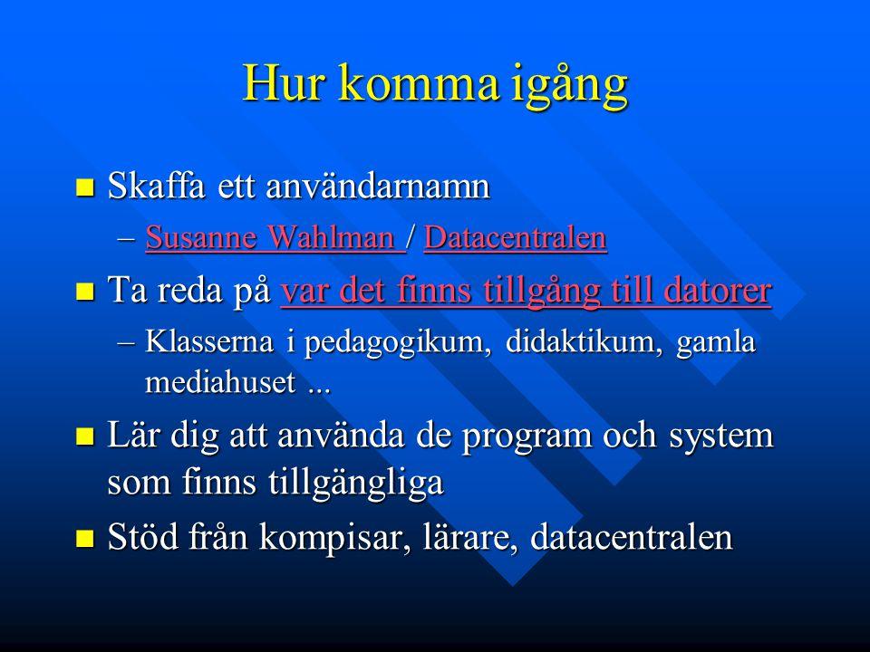 Hur komma igång Skaffa ett användarnamn Skaffa ett användarnamn –Susanne Wahlman / Datacentralen Susanne Wahlman DatacentralenSusanne Wahlman Datacent
