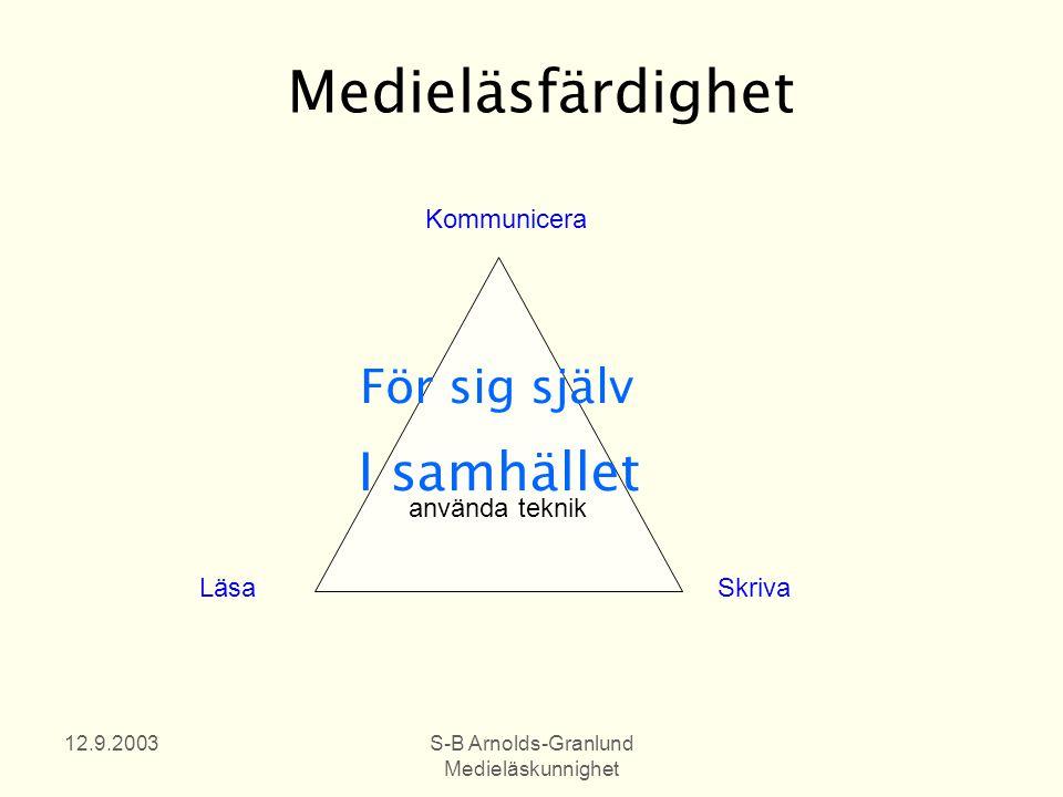 12.9.2003S-B Arnolds-Granlund Medieläskunnighet Medieläsfärdighet använda teknik Läsa Skriva Kommunicera För sig själv I samhället